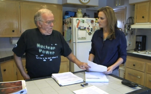 Dale Greer, left, talks to America Tonight's Lori Jane Gliha about his experience working in the tank farms at Hanford.