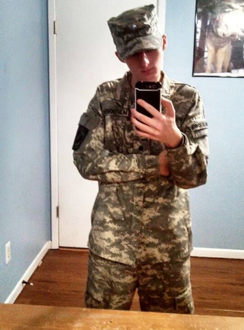 Austin Presley takes a selfie in his National Guard uniform.