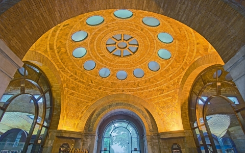 The Guastavinos' polychrome tile arches and vaults adorn the Elephant House at the Bronx Zoo.