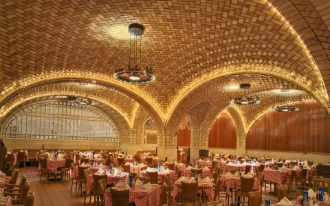 On the lower level of Grand Central Terminal, Guastavino arches soar above diners' heads inside The Oyster Bar.