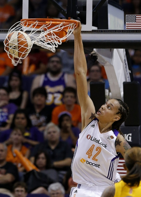 In her first WNBA game, Griner dunked twice – a first for the league