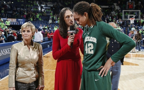 At Baylor, Griner butted heads with the famed head women's basketball coach, Kim Mulkey (left).