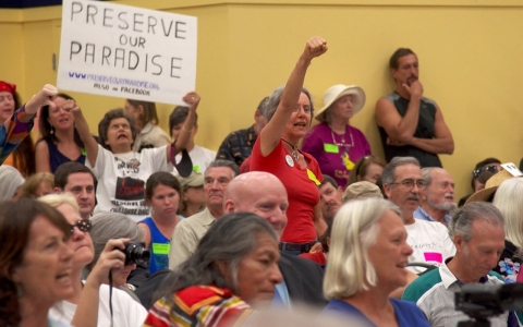 Residents of Southwest Florida protest plans to drill for oil near the Everglades.
