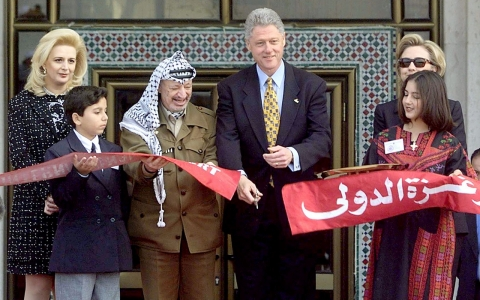 In a historic December 1998 trip, President Bill Clinton cut the ribbon at a ceremony for the Gaza's International Airport alongside Palestinian leader Yasser Arafat.