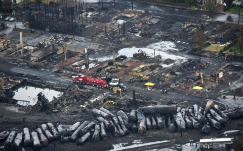 The aftermath of an oil train derailment in 2013 in Lac-Mégantic, Quebec.