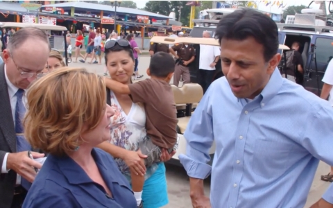 Louisiana Gov. Bobby Jindal, right, talked with America Tonight's Sheila MacVicar about Iowa's historical importance in deciding who has a shot at the presidency.