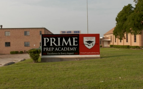 The front of Prime Prep Academy's high school campus in Dallas.