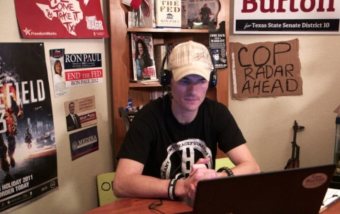 Kory Watkins broadcasts his Internet radio show from his dining room.