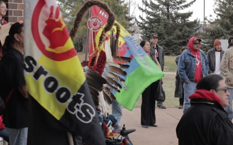 Protesters gather at a Native Lives Matter rally last month in South Dakota.