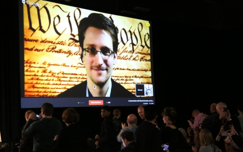 Thumbnail image for Edward Snowden, remotely rocking SXSW