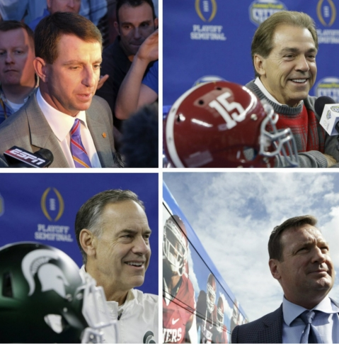 The coaches of the four programs in this year's College Football Playoff.