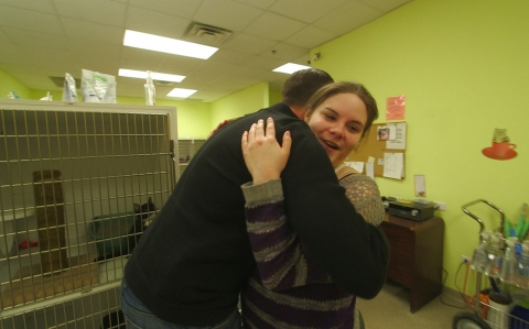In a follow-up interview with Adam May, Geisen (seen here at an animal shelter where she volunteers) agreed to a hug without wearing gloves – an unthinkable scene six months ago before her OCD was treated with deep brain stimulation.