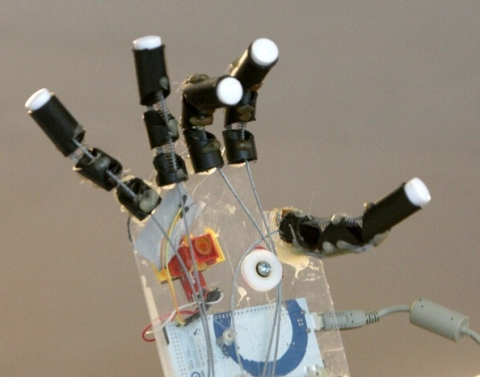 A close-up of Shiva Nathan's prosthetic hand creation that uses Bluetooth technology to control movements.