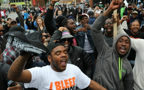 In May, Baltimore residents celebrated at the corner of West North Avenue and Pennsylvania Avenue after authorities released a report on the death of Freddie Gray that ruled his death a homicide and that criminal charges would be filed.