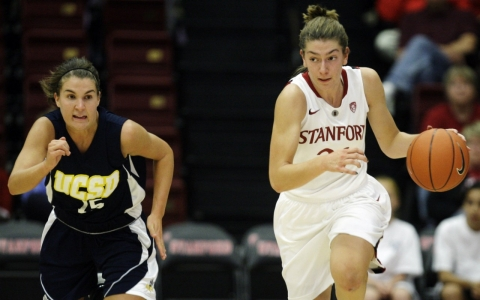 Toni Kokenis, right, against UC San Diego in November 2010.
