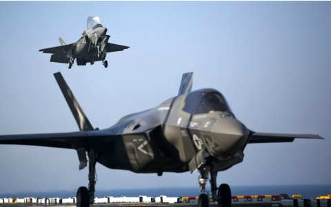 Two Marine F-35B's aboard the USS Wasp.