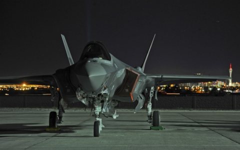 An F-35 at Nellis Air Force Base, Nevada. Nellis is home to the Air Force's operational testing.