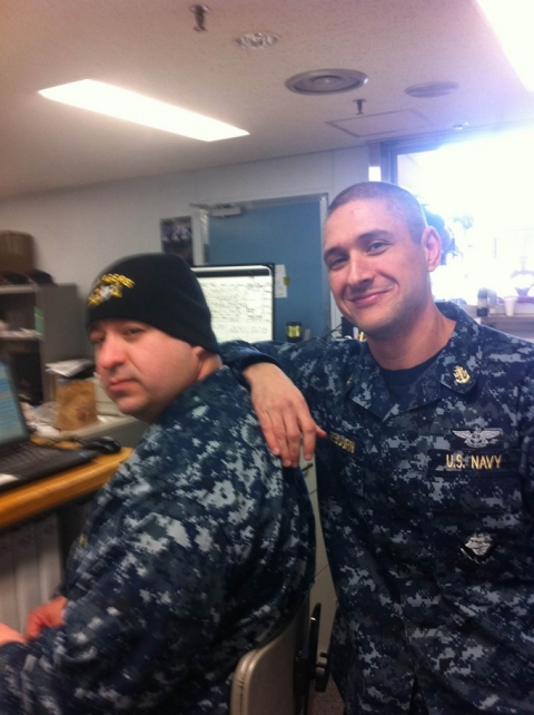 Michael Sebourn, at right, and a colleague pictured during Operation Tomodachi, while on assignment with the U.S. Navy in April 2011 at Misawa Air Base in Japan.