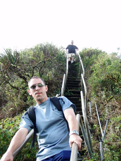 Steven Simmons pictured hiking the Stairway to Heaven while on a port visit to Hawaii in the summer of 2010.