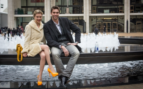 Alisa Sharoikina and Marko Agbaba attend New York Fashion Week at Lincoln Center on Feb. 9, 2014.