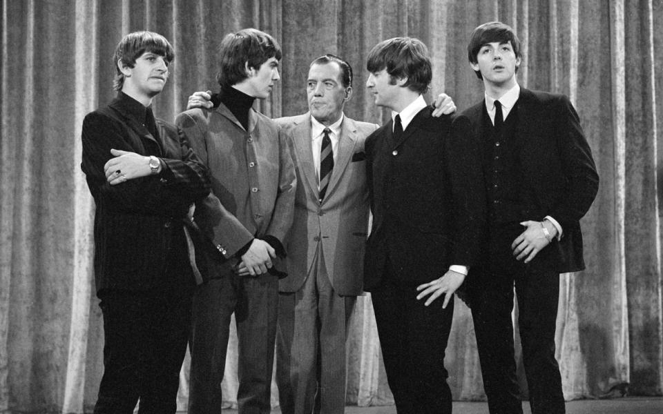 From Left To Right Ringo Starr George Harrison Ed Sullivan John Lennon