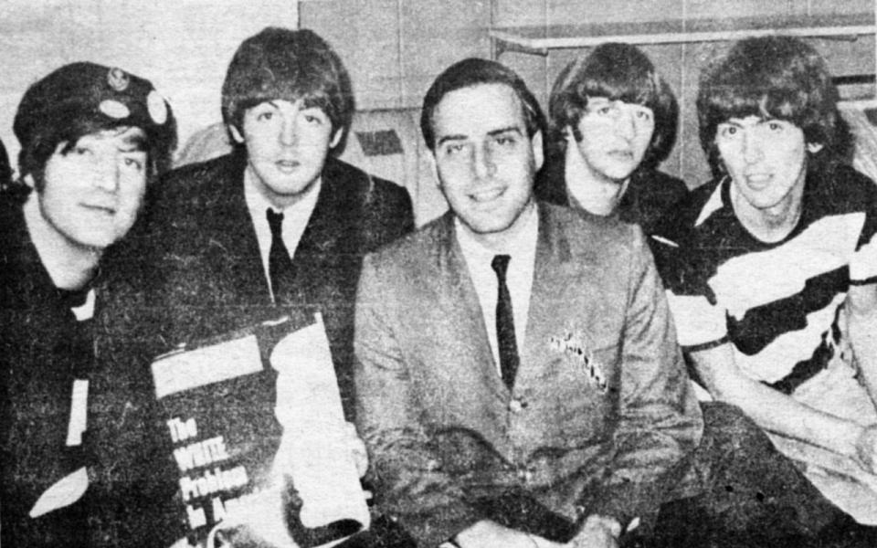 From Left To Right John Lennon Paul McCartney Larry Kane Ringo Starr