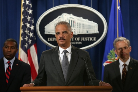 Attorney General Erik Holder during a press conference announcing CitiGroup's fine for misleading investors about mortgagecked securities