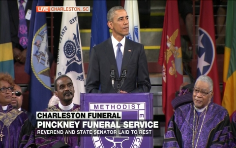 Thumbnail image for Obama delivers powerful eulogy in Charleston