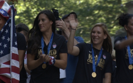 The US women's national soccer team get a rare ticker-tape parade