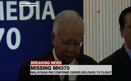 Malaysian PM confirms debris belongs to Flight MH370
