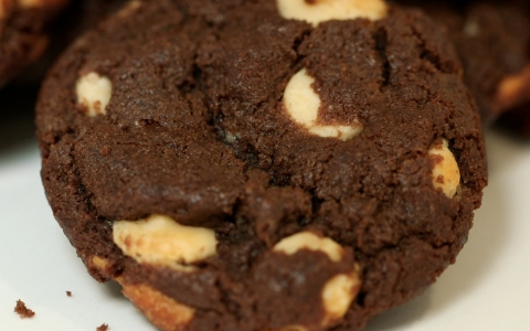 Chocolate cookie with white chocolate chips.