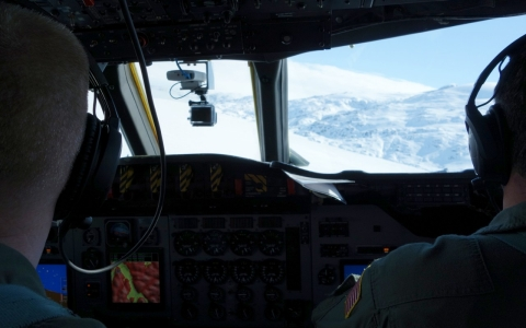 A view from the cockpit of NASA's Operation IceBridge.