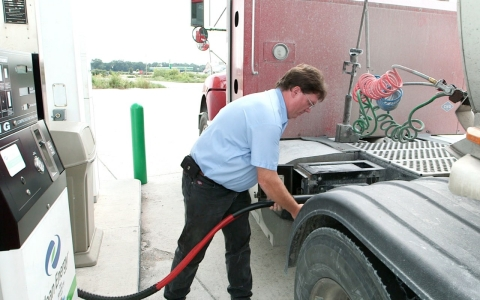 Filling a truck with CNG fuel.