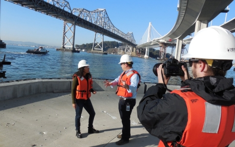 Contributor Marita Davison talks to Caltrans employee Andrew Gordon about the new Bay Bridge.