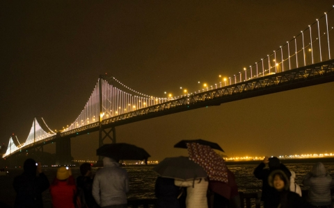 The Bay Lights sculpture on the San Francisco-Oakland Bay Bridge contains 25,000 individual LED lights.