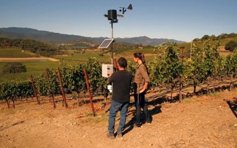 Winemaker Elias Fernandez and Crystal Dilworth check out one of Shafer Vineyards' weather stations.