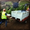 Shafer Vineyard workers haul bunches of grapes.