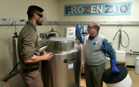 Dr. Oliver Ryder shows TechKnow contributor Phil Torres the Frozen Zoo.