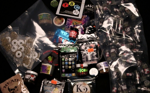 A variety of synthetic marijuana products.