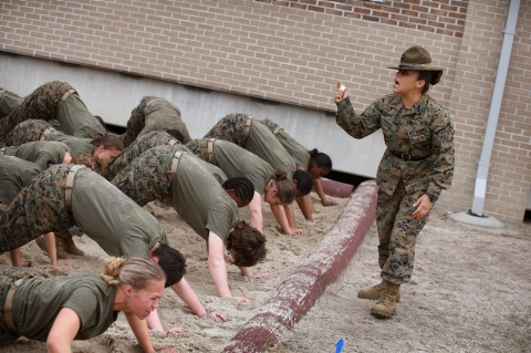 A drill instructor disciplines her Marine recruits during boot camp on February 27, 2013 in South Carolina. (Scott Olson/Getty Images)
