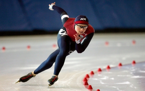 Eva Rodansky competes in the US Long Track Championships at the Utah Olympic Oval.
