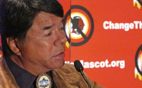 Ray Halbritter of the Oneida Indian Nation speaks in favor of changing the name of Washington Redskins. Robert MacPherson/AFP/Getty