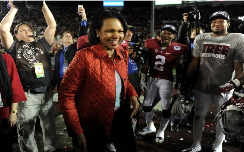 Condoleezza Rice celebrates after Stanford wins Rose Bowl.  Harry How/Getty Images