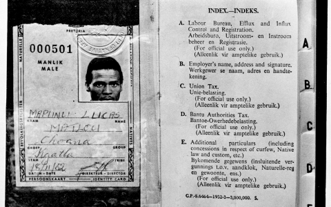 An example of the type of pass South African blacks had to carry during apartheid.