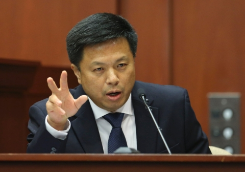 Dr. Shiping Bao testifies during Trayvon Martin trial. Gary W. Green-Pool/Getty Images