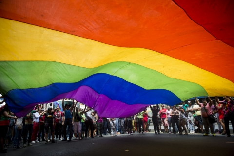 The 35th Gay Pride Parade in downtown Caracas, Venezuela on June 30, 2013 (LEO RAMIREZ/AFP/Getty Images).