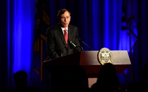 David Petraeus addresses students at USC. Frederic J. Brown/AFP/Getty Images