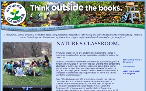 Screenshot of the Nature's Classroom website.