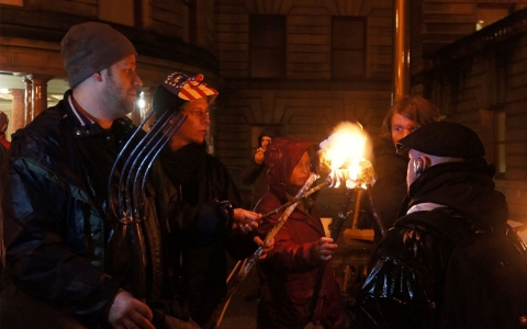 Portland residents protest the city's policies towards the homeless with torches and pitchforks.