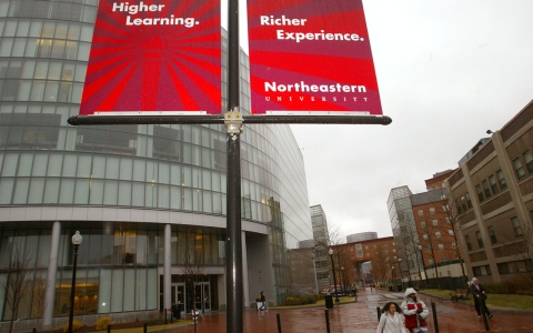The Behrakis Health Sciences Center at Northeastern University, it is one of the new modern buildings on campus.
